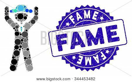 Mosaic Gentleman Champion Icon And Grunge Stamp Seal With Fame Caption. Mosaic Vector Is Designed Wi