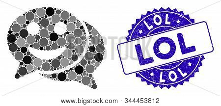 Mosaic Happy Chat Icon And Corroded Stamp Watermark With Lol Phrase. Mosaic Vector Is Formed With Ha