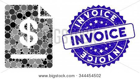 Mosaic Invoice Icon And Corroded Stamp Seal With Invoice Caption. Mosaic Vector Is Created With Invo