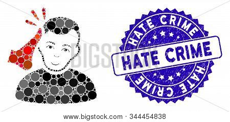Mosaic Kickboxer Icon And Grunge Stamp Seal With Hate Crime Caption. Mosaic Vector Is Composed From