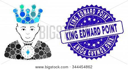 Mosaic King Icon And Rubber Stamp Seal With King Edward Point Caption. Mosaic Vector Is Designed Fro