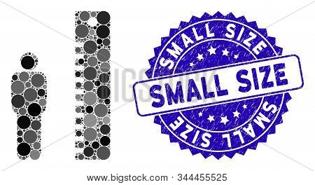 Mosaic Man Height Icon And Distressed Stamp Watermark With Small Size Text. Mosaic Vector Is Formed