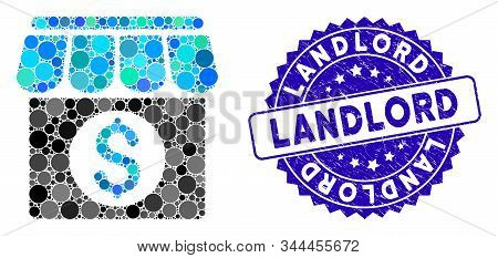 Mosaic Market Building Icon And Rubber Stamp Seal With Landlord Caption. Mosaic Vector Is Created Wi