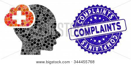 Mosaic Medical Idea Cloud Icon And Distressed Stamp Seal With Complaints Text. Mosaic Vector Is Comp