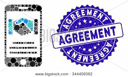 Mosaic Mobile Agreement Handshake Icon And Corroded Stamp Seal With Agreement Caption. Mosaic Vector