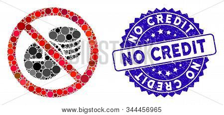 Mosaic No Credit Time Icon And Grunge Stamp Watermark With No Credit Phrase. Mosaic Vector Is Compos