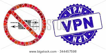 Mosaic No Vpn Icon And Grunge Stamp Seal With Vpn Phrase. Mosaic Vector Is Designed From No Vpn Icon