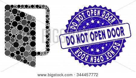 Mosaic Open Door Icon And Corroded Stamp Watermark With Do Not Open Door Caption. Mosaic Vector Is C