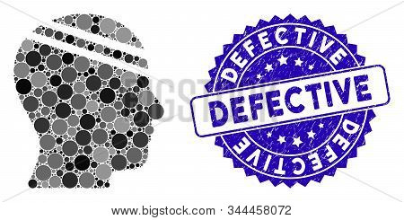 Mosaic Patient Head Icon And Rubber Stamp Seal With Defective Text. Mosaic Vector Is Designed With P