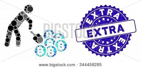 Mosaic Person Mining Bitcoins Icon And Rubber Stamp Seal With Extra Phrase. Mosaic Vector Is Formed