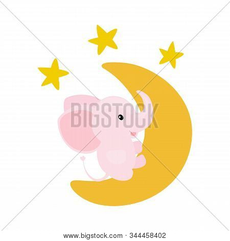 Pink Baby Girl Elephant Sitting On A Moon With Shiny Stars. Cartoon Vector Illustration.