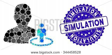 Mosaic Portal Moderator Icon And Rubber Stamp Seal With Simulation Caption. Mosaic Vector Is Created