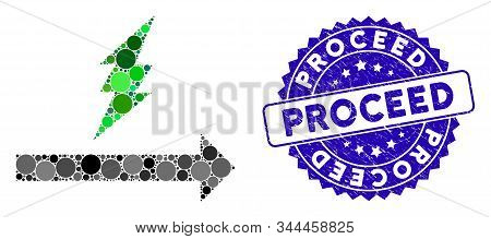 Mosaic Proceed Icon And Grunge Stamp Seal With Proceed Phrase. Mosaic Vector Is Composed From Procee