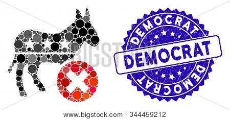 Mosaic Reject Democrat Donkey Icon And Grunge Stamp Seal With Democrat Caption. Mosaic Vector Is For