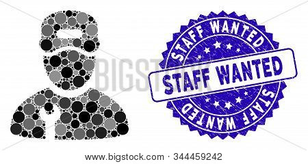 Collage Repairman Icon And Corroded Stamp Seal With Staff Wanted Caption. Mosaic Vector Is Created W