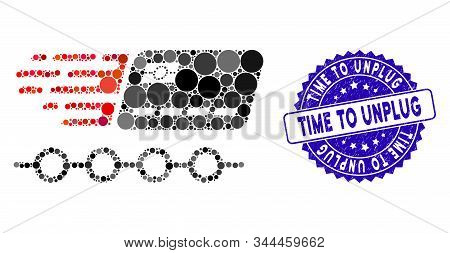 Mosaic Rush Grace Credit Periods Icon And Rubber Stamp Seal With Time To Unplug Text. Mosaic Vector