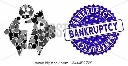 Collage Sad Bankruptcy Piggy Bank Icon And Corroded Stamp Watermark With Bankruptcy Text. Mosaic Vec