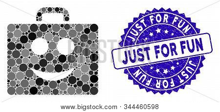 Mosaic Smile Case Icon And Rubber Stamp Seal With Just For Fun Phrase. Mosaic Vector Is Created With