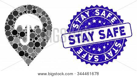 Mosaic Umbrella Marker Icon And Distressed Stamp Seal With Stay Safe Text. Mosaic Vector Is Designed