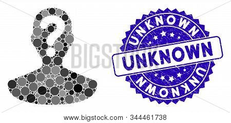 Mosaic Unknown Person Icon And Distressed Stamp Watermark With Unknown Text. Mosaic Vector Is Create