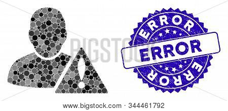Collage User Error Icon And Distressed Stamp Seal With Error Caption. Mosaic Vector Is Created With