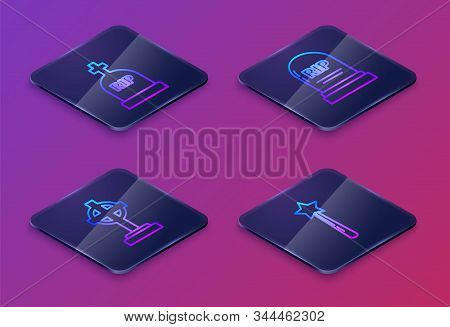 Set Isometric Line Tombstone With Rip, Tombstone With Cross , Tombstone With Rip And Magic Wand . Bl