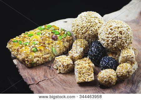 Tilgul Or Sweet Sesame Laddu And Cookies For Indian Festival Makar Sankranti, Sesame Seed Ball And T