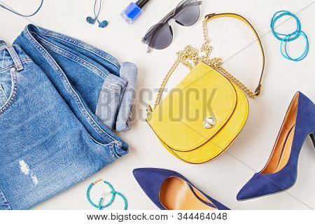 Flat Lay With Woman Fashion Accessories In Yellow And Blue Colors. Fashion Blog, Summer Style, Shopp
