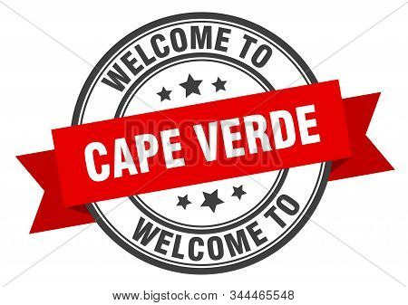 Cape Verde Stamp. Welcome To Cape Verde Red Sign