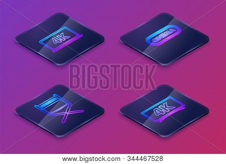 Set Isometric Line Laptop Screen With 4k Video Technology , Director Movie Chair , Cinema Poster Des
