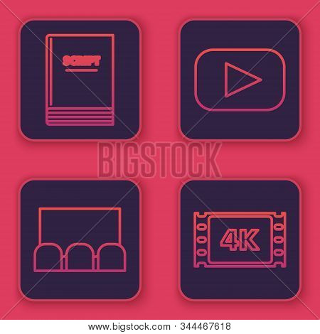 Set line Scenario , Cinema auditorium with screen and seats , Play and 4k movie, tape, frame . Blue square button. Vector poster
