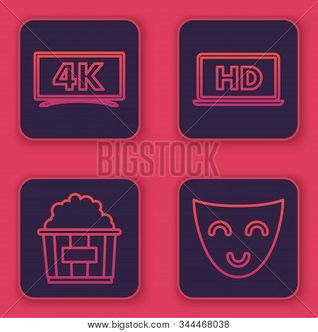 Set Line Screen Tv With 4k Ultra Hd Video Technology , Popcorn In Cardboard Box , Laptop Screen With