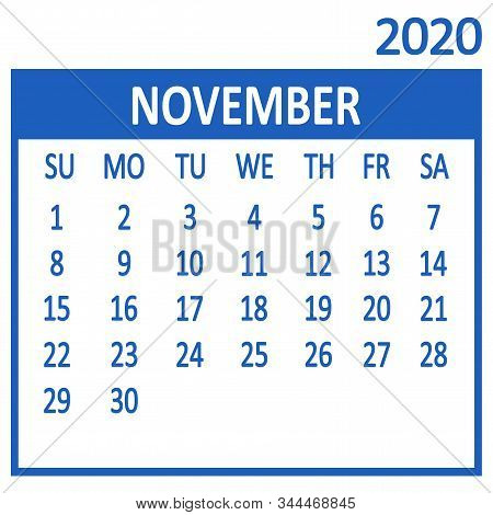 November. Eleventh Page Of Set. Calendar 2020, Template. Week Starts From Sunday. Vector Illustratio