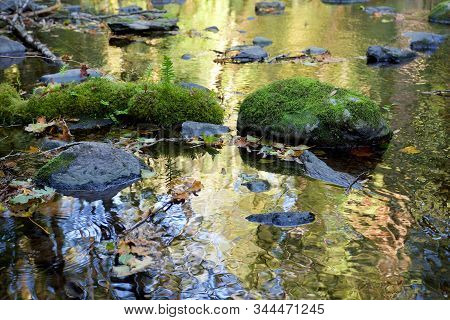 Reflection Of Moss Covered Boulders In Calm Section Of River With Bright Colors Autumn Of Trees, Gol
