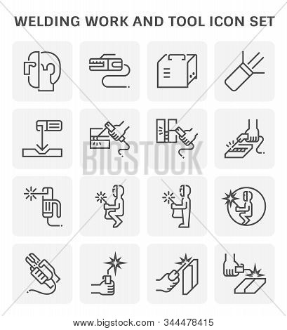 Welding Work And Welding Tool Icon Set For Welding Graphic Design Element, Editable Stroke.