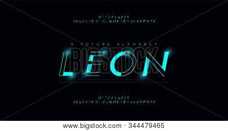 Abstract Urban Thin Line Font Alphabet. Minimal Modern Neon Fonts And Numbers. Typography Typeface U