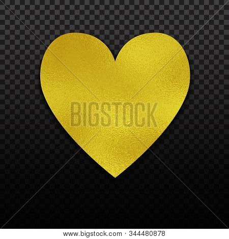 Gold Foil Heart For Luxury Valentine, Wedding Or Birthday Greeting Card. Golden Foil Design
