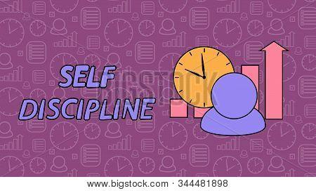 Self Discipline Concept. All Deal And Tasks Completed. Vector Illustration Flat Design. Control Mana