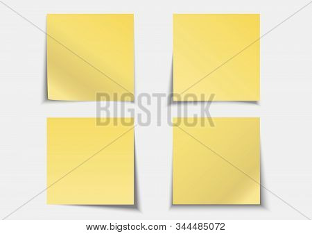 Post Note Label Yellow Paper Sticky Note Set On Gray Background With Shadow - Vector Illustration