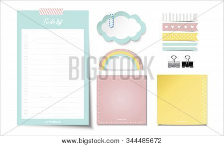 Light Blue To Do List. Cloud And Rainbow Paper Note. With Cute Index Set - Binder Paper Clip-vector