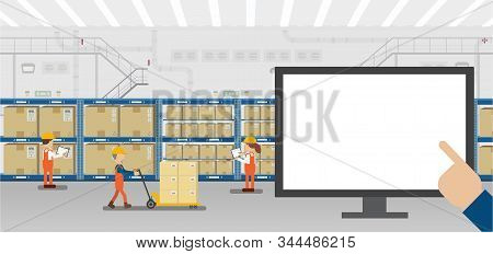 Empty Screen Monitor In Warehouse With Workers Working Flat Design Vector Illustration