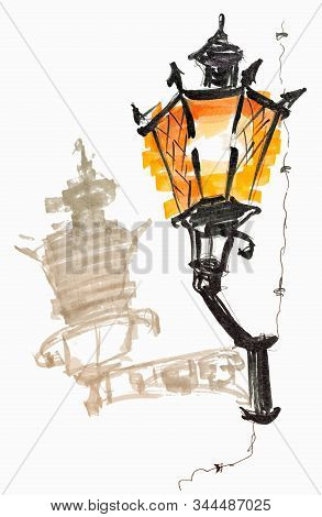 Burning Wall Lantern With Shadow Hand Drawn Marker Sketch Isolated On White Background Eps10 Vector