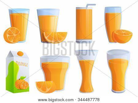 Juice Orange Icons Set. Cartoon Set Of Juice Orange Vector Icons For Web Design