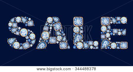 Sale Inscription Made Of Classic Blue Crystal With Gold Frame Letters. Jewelry Shop Banner Concept O