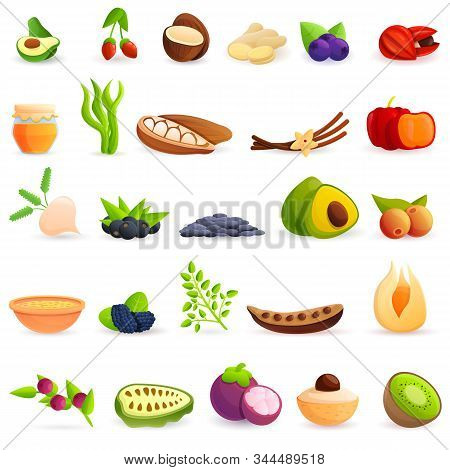 Superfood Icons Set. Cartoon Set Of Superfood Vector Icons For Web Design