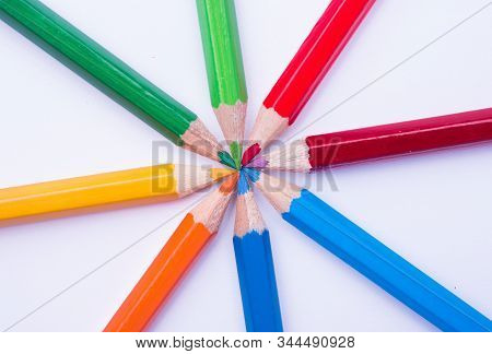 Multi Colored Pencils On White Background,creative Design With Pencils