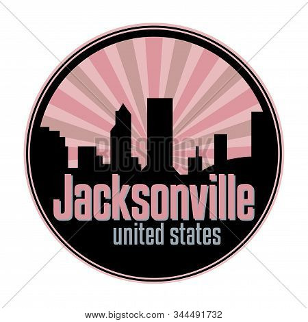 Badge, Label Or Stamp With Jacksonville Skyline, Vector Illustration