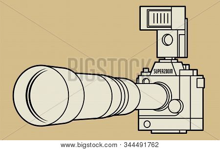 Professional Camera With Big And Long Zoom Or Telephoto Lens And Flash Strobe, Vector Illustration