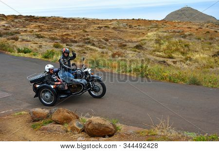 Canical, Madeira, Portugal -  June 23, 2019: Classic  Motorcycle And Sidecar With Passenger  Used To