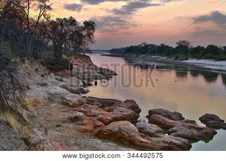 Evening Photo Of Luangwa River, South Luangwa National Park Border. Hdr Photo.